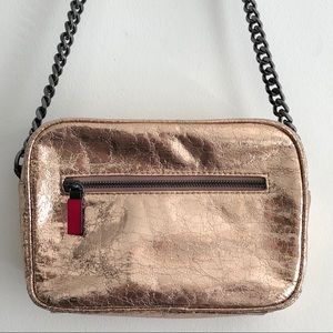 Zara Rose Gold Metallic Crinkle Foil Crossbody Bag